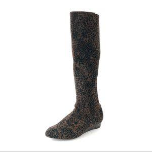 [Stuart Weitzman] Leopard Tall Stretch Suede Boots